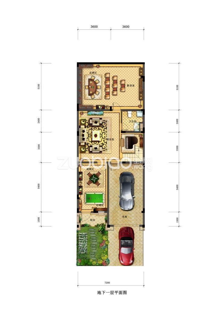 联排C3户型 家庭休闲区(地下一层)