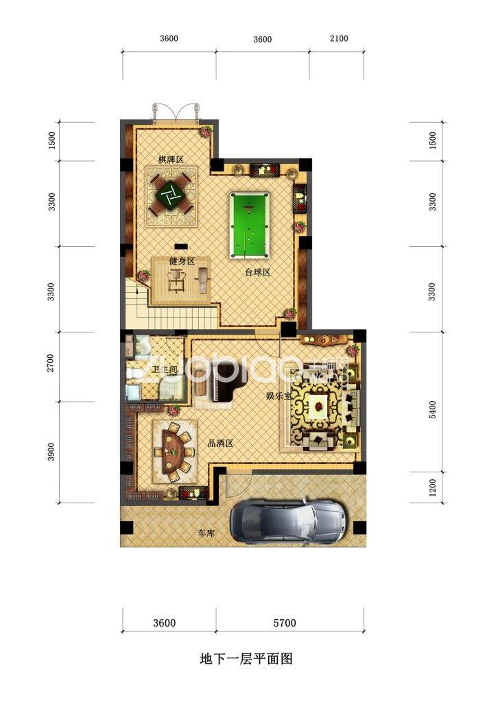 合院D3户型 家庭休闲区(地下一层)